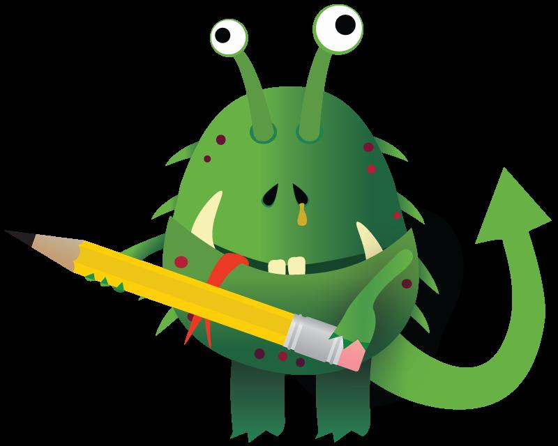 Gloober the flu germ brings a pencil